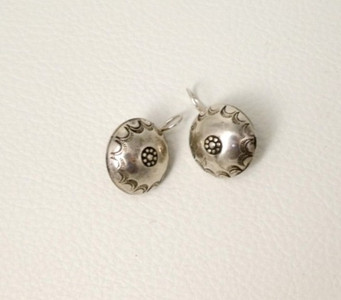 Silver vintage stamped Navajo button earrings