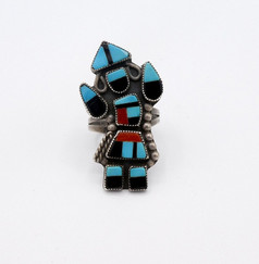 Vintage Zuni Rainbow dancer inlay and silver ring.
