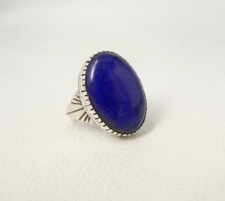 Lapis lazuli and silver Navajo ring
