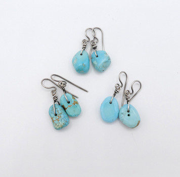 Vintage selection of natural turquoise nugget earrings