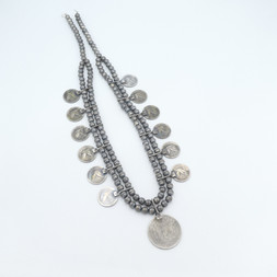N11 Squash Necklace with Vintage 25 cent Liberty coins and Cebtral silver dollar