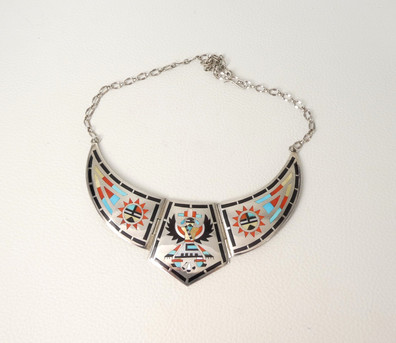 Fine inlay silver collar necklace by artists Ed and Nancy Edaakie