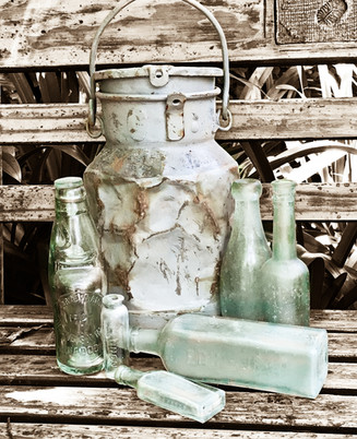 Milk can and bottles