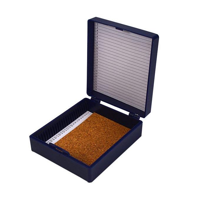 FILOSLIDE 25 BOX - műanyag tároló, postázó doboz parafa betéttel  25 tárgylemezhez - kék