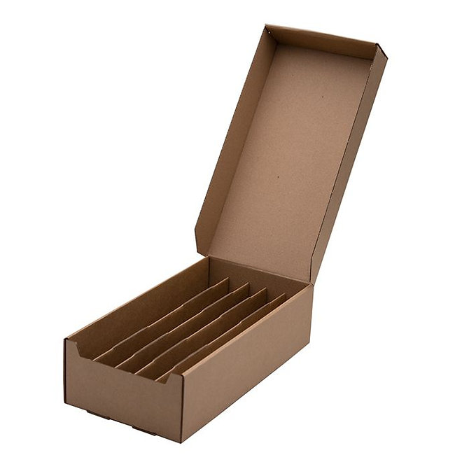 ECOSLIDE 1000 kartonpapír tárgylemez tároló dobozok 1000 tárgylemezhez, 305 x 105 x 85 mm, összeállított
