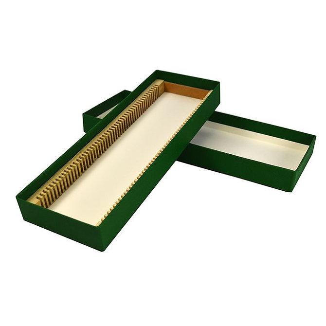 FILOSLIDE BOX tároló, postázó doboz 50 tárgylemezhez, textil borítású kartonapír