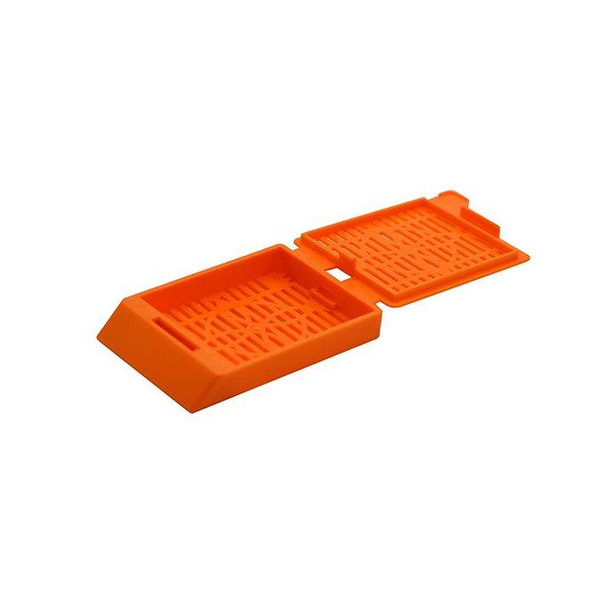 SYSTEM III Beágyazó kazetta - réses  perforációval - narancs (fűzött csomagolás, hőnyomtatásra)