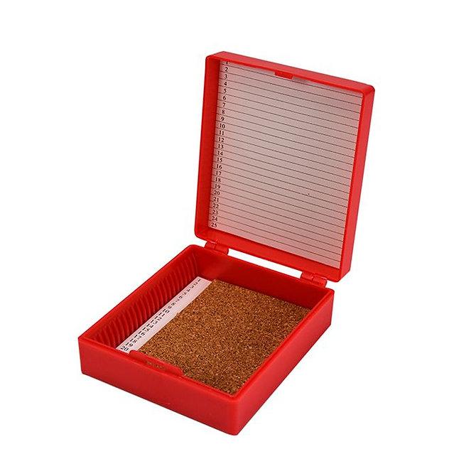 FILOSLIDE 25 BOX - műanyag tároló, postázó doboz parafa betéttel  25 tárgylemezhez - piros