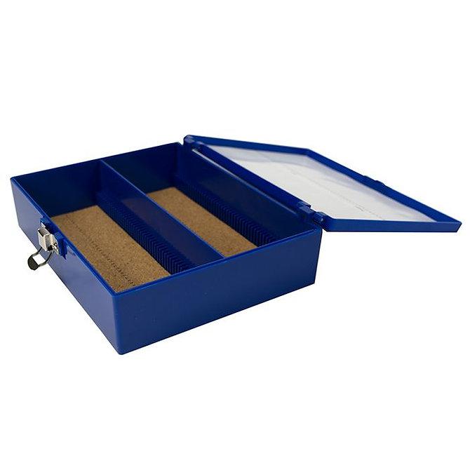FILOSLIDE 100 BOX  műanyag tároló, postázó doboz parafa betéttel  100 SUPA MEGA tárgylemezhez - kék