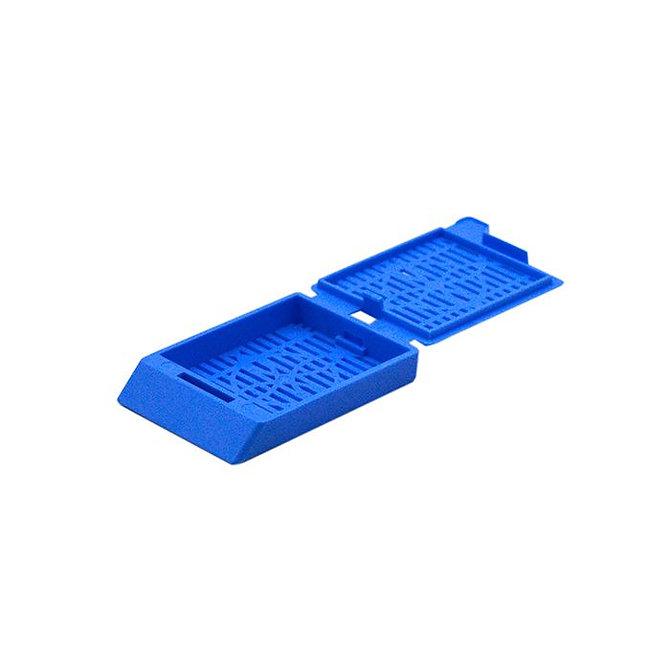 SYSTEM III Beágyazó kazetta - réses  perforációval - sötétkék (fűzött csomagolás, hőnyomtatásra)