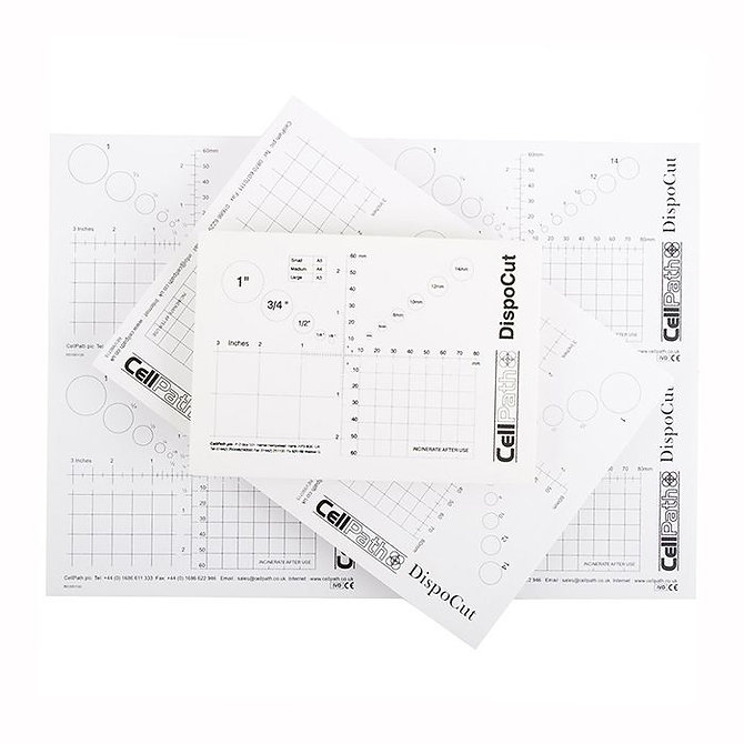 DISPOCUT Eldobható indító tálca mérőbeosztással - A5, 3 mm vastag laminált lap, fehér, (148 x 210 mm)