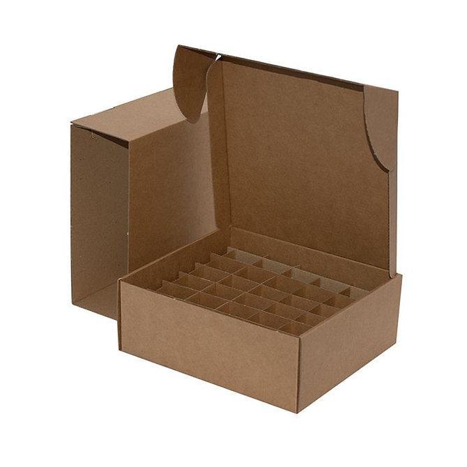 Fiókos kisméretű doboz - 790 tárgylemezhez, 240 x 215 x 85 mm, barna kartonpapír, lapra csomagolt