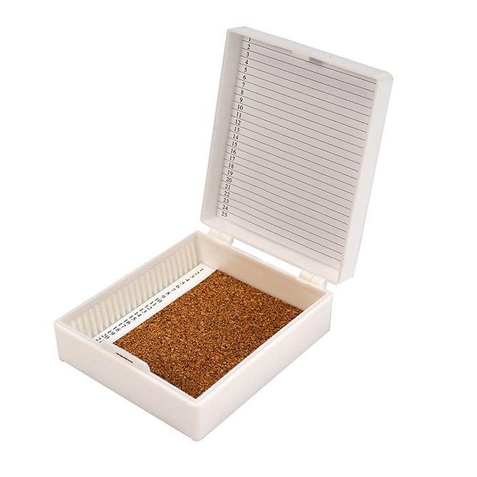 FILOSLIDE 25 BOX - műanyag tároló, postázó doboz parafa betéttel  25 tárgylemezhez - fehér