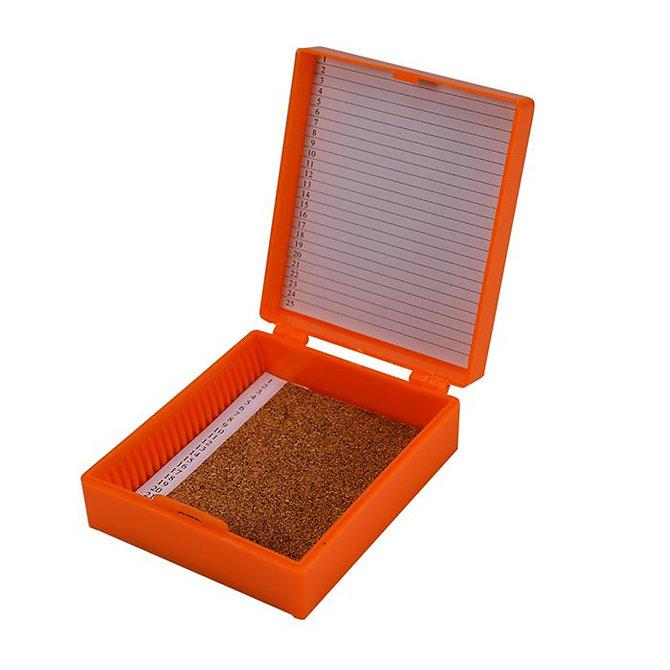 FILOSLIDE 25 BOX - műanyag tároló, postázó doboz parafa betéttel  25 tárgylemezhez - narancs