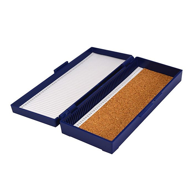 FILOSLIDE 50 BOX - műanyag tároló, postázó doboz parafa betéttel  50 tárgylemezhez - kék