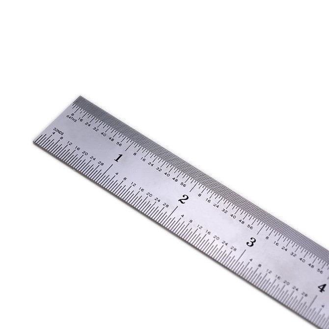 Rozsdamentes acél vonalzó, 300 mm-es, kalibrált, 0,5 mm-es beosztással