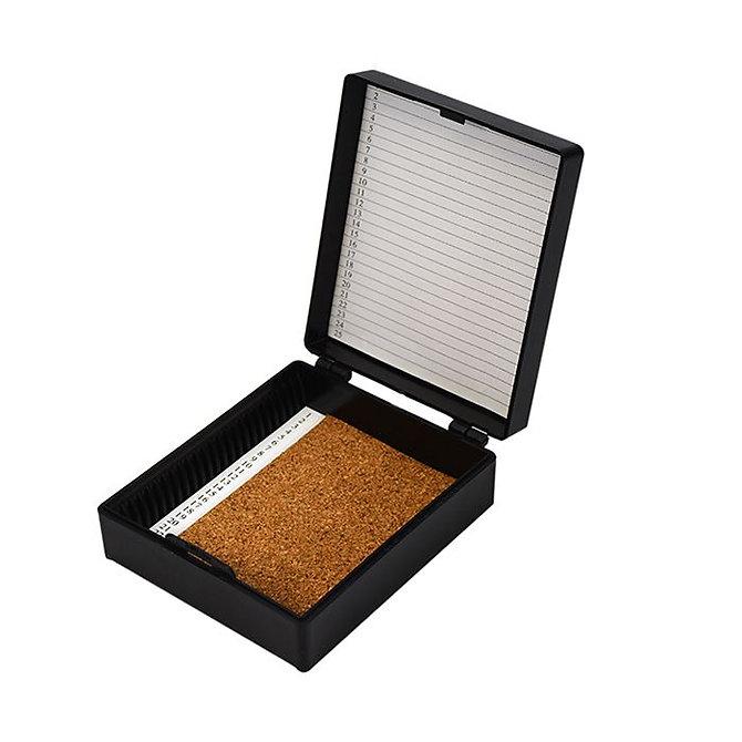 FILOSLIDE 25 BOX - műanyag tároló, postázó doboz parafa betéttel  25 tárgylemezhez - fekete