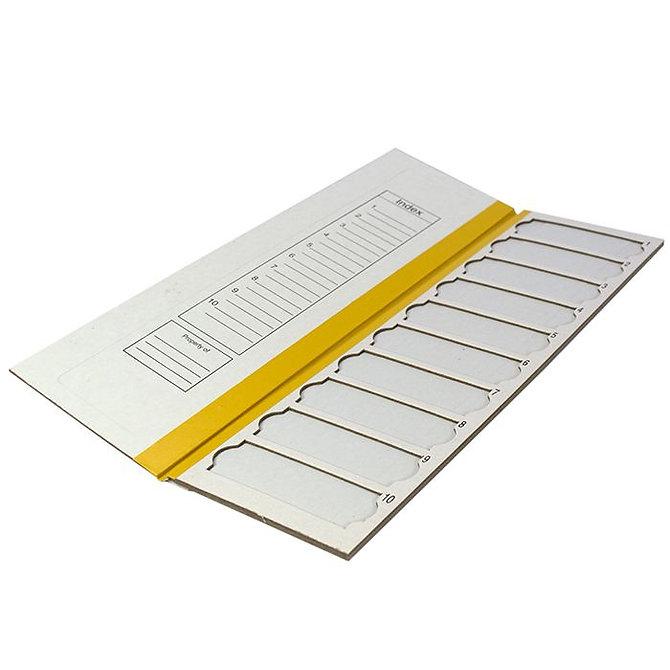 FILOSLIDE Kartonpapír  tárgylemez téka 10 tárgylemezhez - Sárga