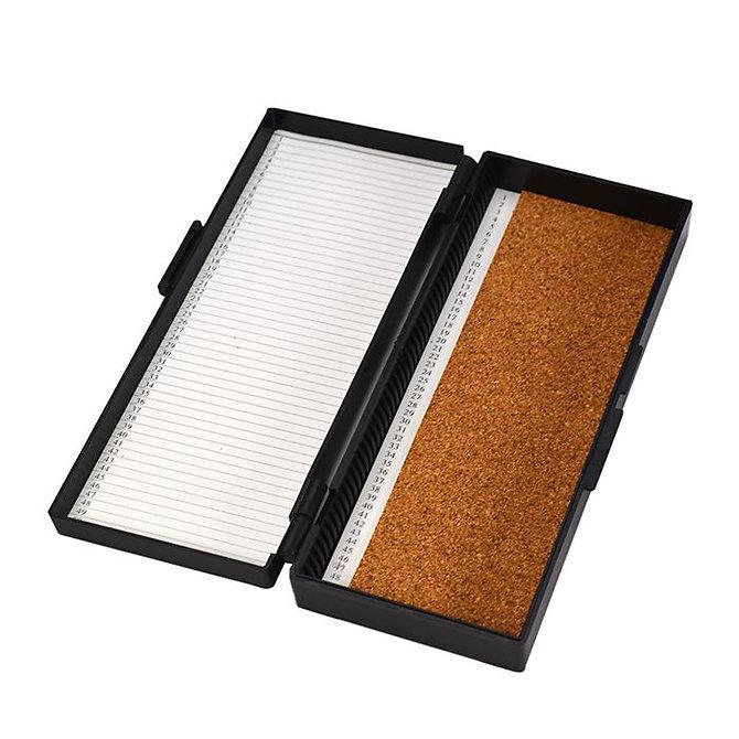 FILOSLIDE 50 BOX - műanyag tároló, postázó doboz parafa betéttel  50 tárgylemezhez - fekete