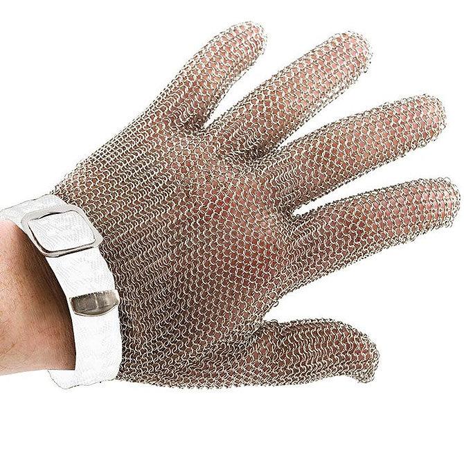 PROMESH munkavédelmi lánc kesztyű, rozsdamentes acél, fehér jelzéssel, mindkét kézre alkalmas- S-es méret