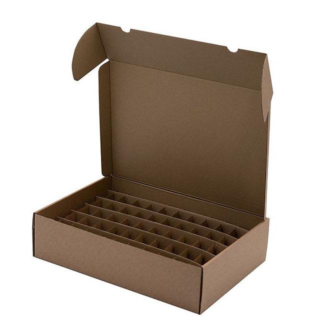 Fiókos nagyméretű doboz - 1300 tárgylemezhez, 340 x 240 x 90 mm, barna kartonpapír, lapra csomagolt