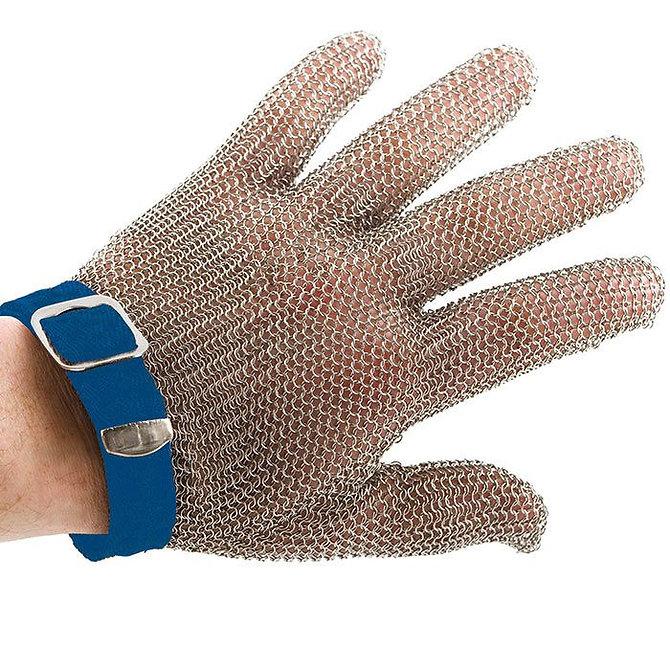 PROMESH munkavédelmi lánc kesztyű, rozsdamentes acél, kék jelzéssel, mindkét kézre alkalmas - L-es méret