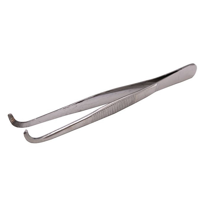 Rozsdamentes acél csipesz - Görbített, tompa végű, fogazott - 130 mm