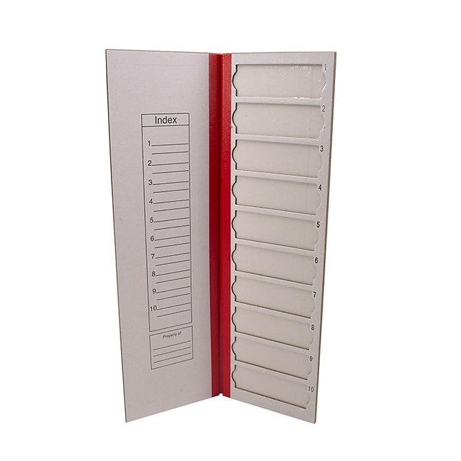 FILOSLIDE Kartonpapír  tárgylemez téka 10 tárgylemezhez - Piros