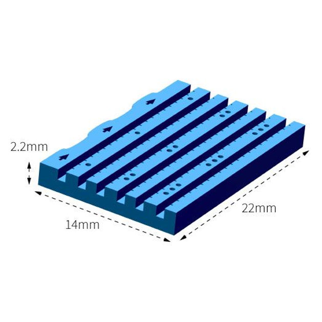 LUMEA BX metszhető biopsziás chip, 6 csatornás, 18G, kék, formalinnal, egyesével csomagolt