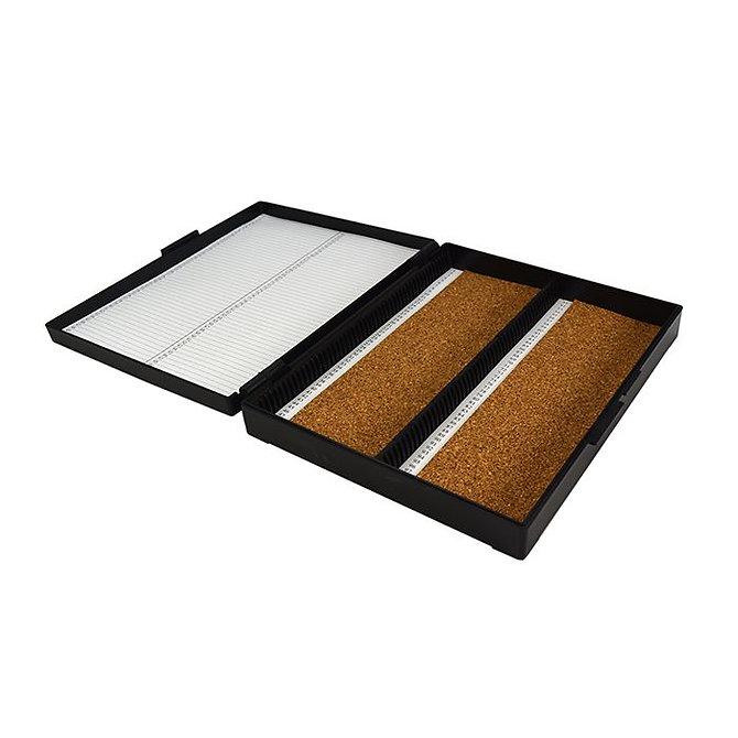 FILOSLIDE 100 BOX - műanyag tároló, postázó doboz parafa betéttel  100 tárgylemezhez - fekete