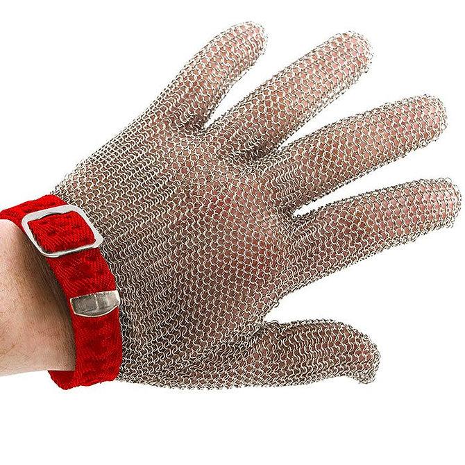 PROMESH munkavédelmi lánc kesztyű, rozsdamentes acél, piros jelzéssel, mindkét kézre alkalmas- M-es méret