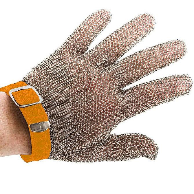 PROMESH munkavédelmi lánc kesztyű, rozsdamentes acél, narancssárga jelzéssel, mindkét kézre alkalmas- XL-es méret