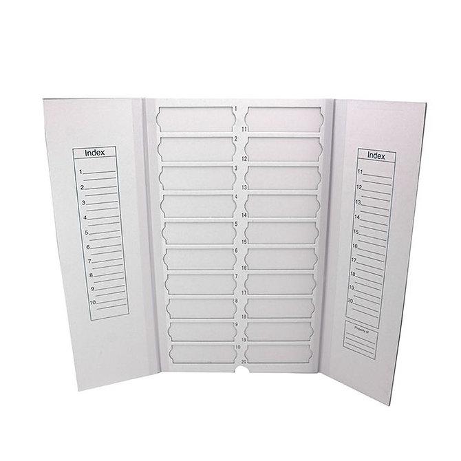 FILOSLIDE Kartonpapír  tárgylemez téka 20 tárgylemezhez - Fehér