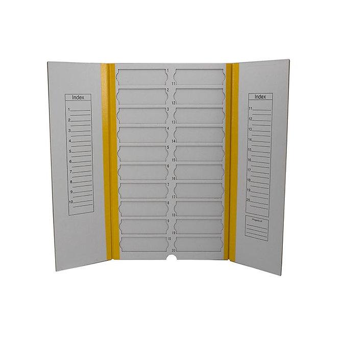 FILOSLIDE Kartonpapír  tárgylemez téka 20 tárgylemezhez - Sárga