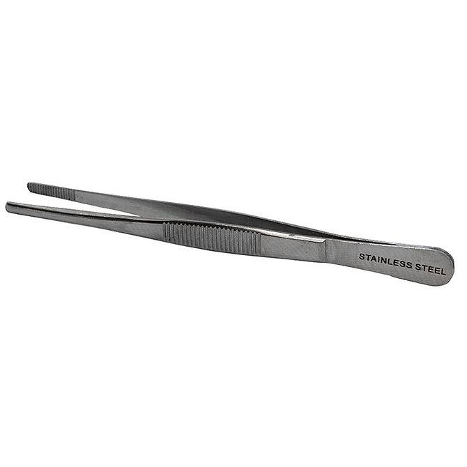 Rozsdamentes acél csipesz - Tompa végű, fogazott - 130 mm