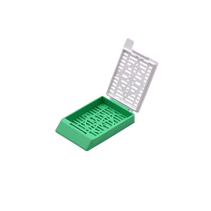 SYSTEM II+ beágyazó kazetta réses perforációval - zöld + fedél (ömlesztett csomagolás)