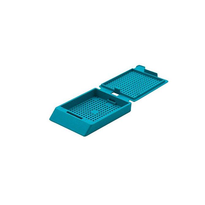 SYSTEM III biopsziás beágyazó kazetta - türkiz (fűzött csomagolás, hőnyomtatásra)