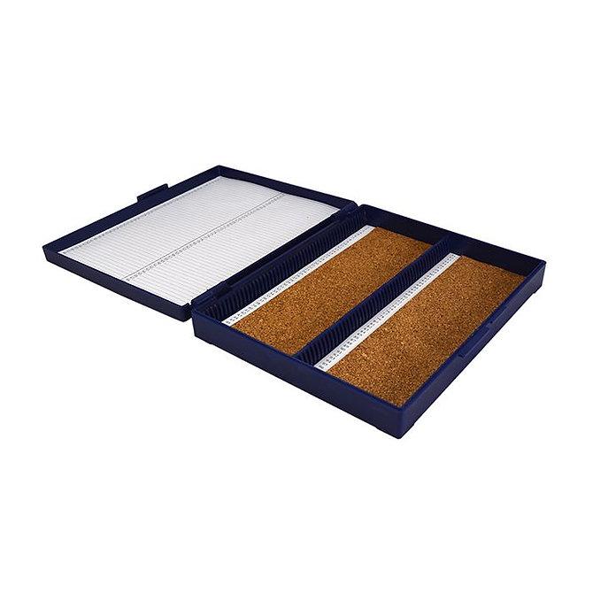 FILOSLIDE 100 BOX -  műanyag tároló, postázó doboz parafa betéttel  100 tárgylemezhez - kék