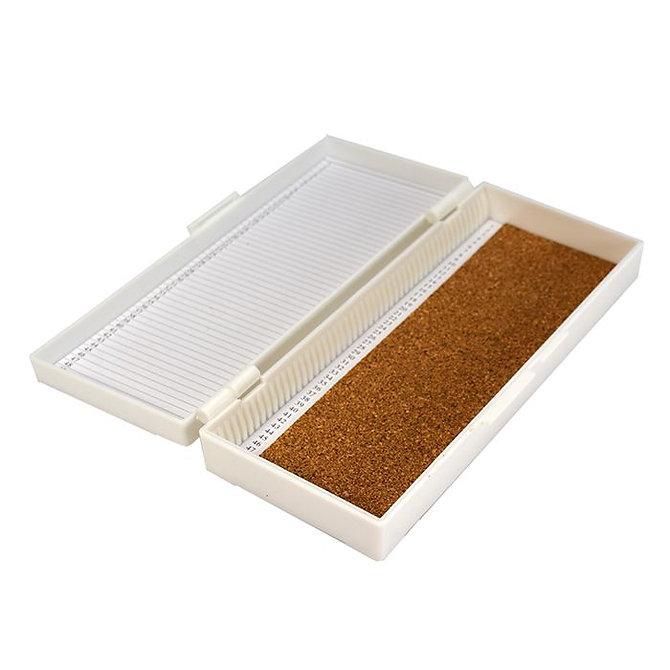FILOSLIDE 50 BOX - műanyag tároló, postázó doboz parafa betéttel  50 tárgylemezhez - fehér