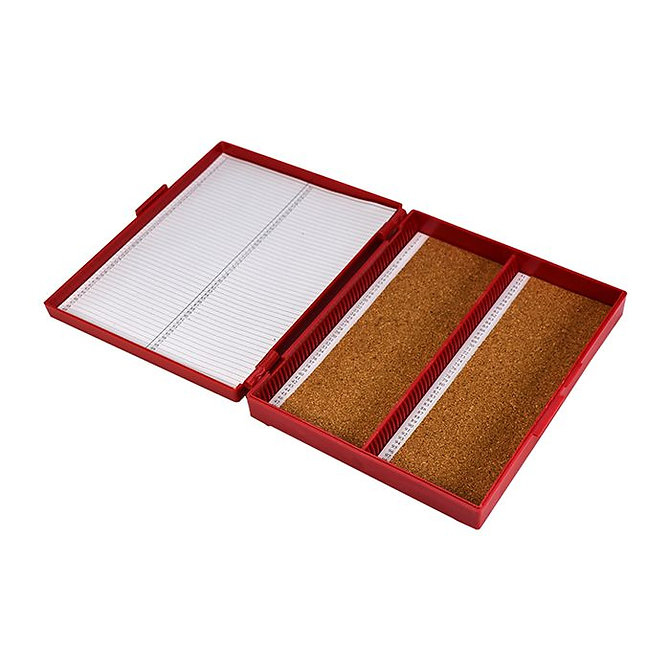 FILOSLIDE 100 BOX -  műanyag tároló, postázó doboz parafa betéttel  100 tárgylemezhez - piros