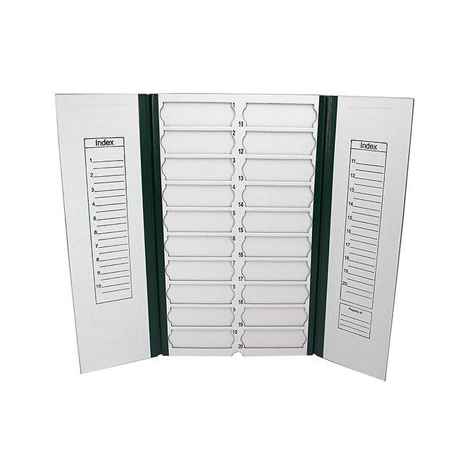 FILOSLIDE Kartonpapír  tárgylemez téka 20 tárgylemezhez - Zöld