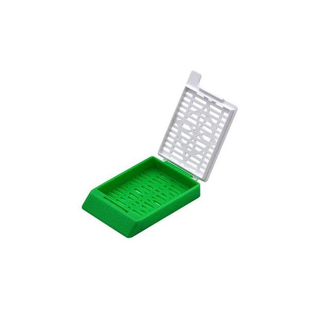 SYSTEM II+ beágyazó kazetta réses perforációval - sötétzöld + fedél (ömlesztett csomagolás)