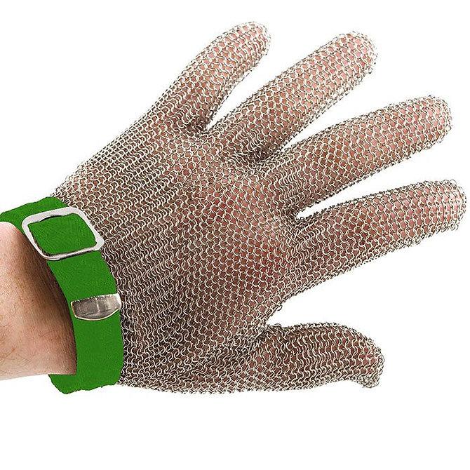 PROMESH munkavédelmi lánc kesztyű, rozsdamentes acél, zöld jelzéssel, mindkét kézre alkalmas- XS-es méret