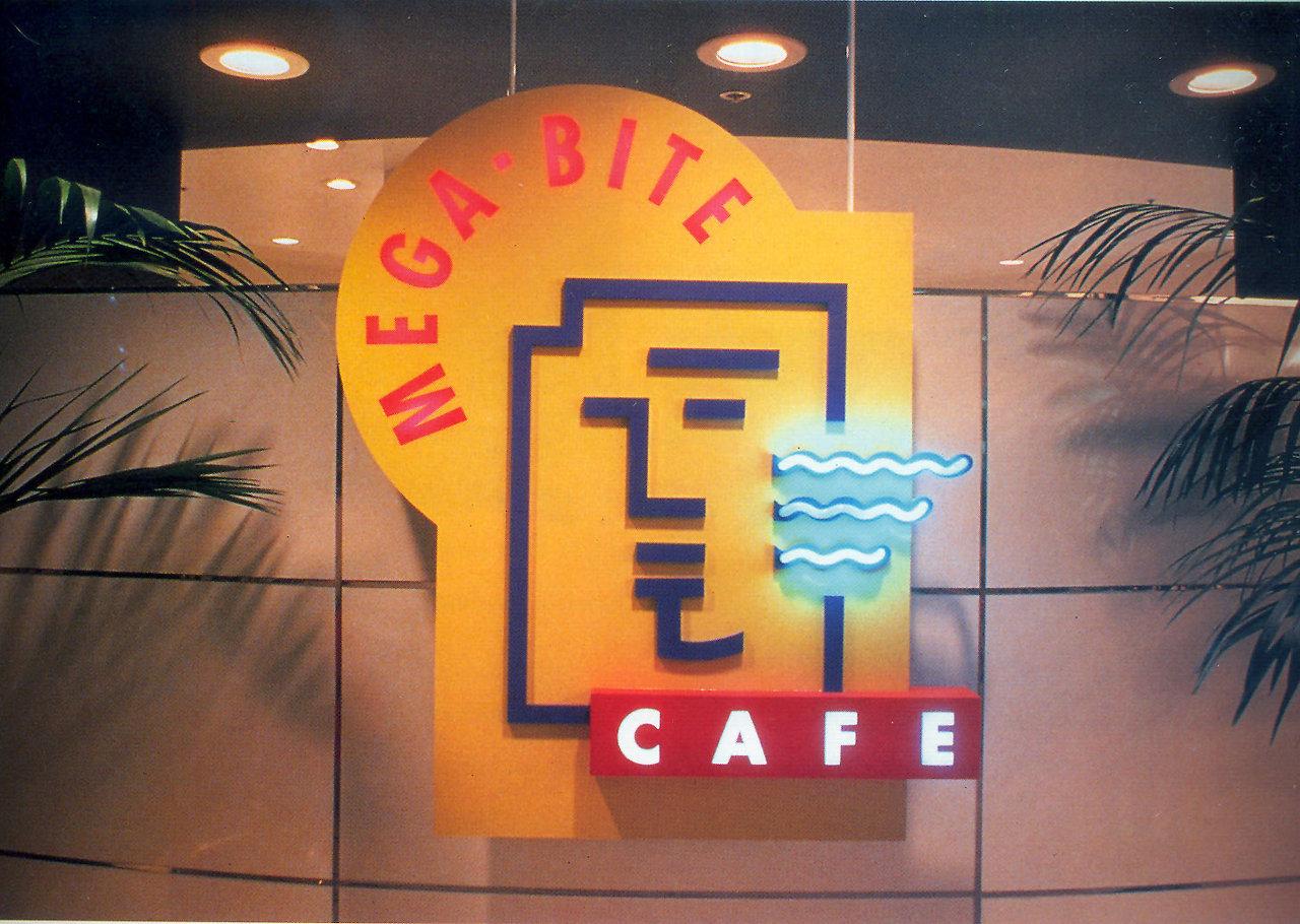 Mega Bite Shop Interior signage