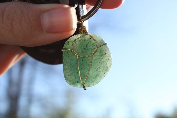 Custom Pendant (Green w/Rose Wire)