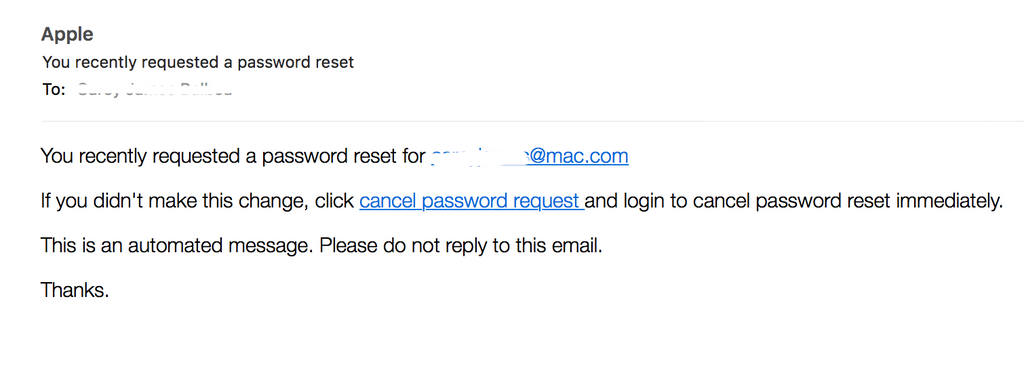 You recently requested a password reset (FAKE APPLE NOTICE)