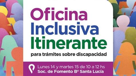 """Santa Lucía recibirá la """"Oficina Inclusiva"""" de la Dirección de Discapacidad"""