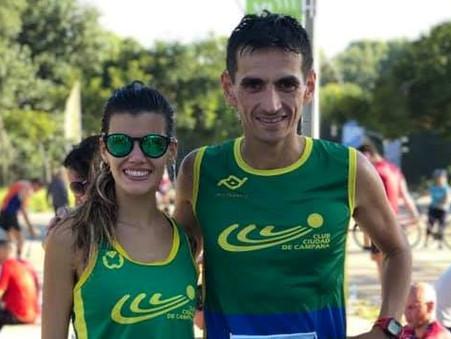 Noelia Guillermin y Rodrigo Cruz corrieron los 10K de Vicente López
