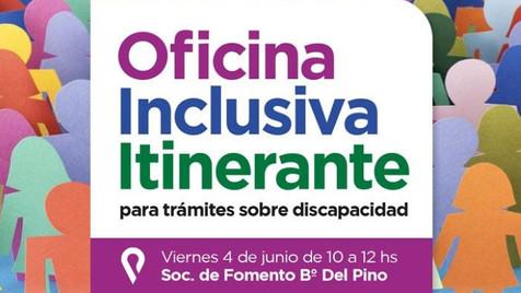 La oficina inclusiva itinerante llegará hoy viernes al barrio Del Pino
