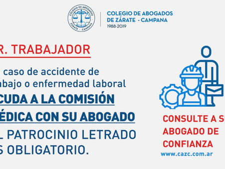 El Colegio de Abogados advierte a los trabajadores por trámites ante la Comisión Médica